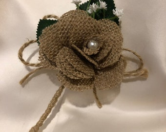 Hessian Rose and babysbreath buttonhole, rustic wedding flower, rustic accessories, wedding ideas