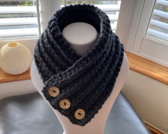 Charcoal Neck Warmer, wool scarf, dark grey wool Collar.
