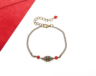Red jade beads and bronze chain bracelet