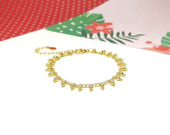 Chain beaded Gold Bracelet
