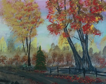 Autumn in the Woods,  original acrylic painting on stretched canvas
