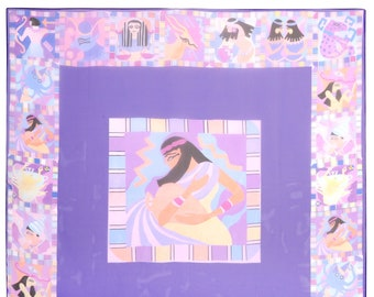 Large Purple Chiffon 'Aquarius' Square Scarf from the Egyptian Constellation Collection