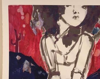 Desert Muse 2 (Colour) - ORIGINAL INKJET PRINT, Signed Limited Edition Digital Print, Original Art, Psychedelic Art, Painting