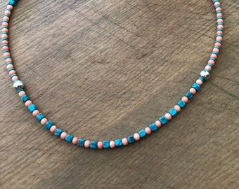 20 inch Peach Coral and Turquoise Necklace with Sterling Silver Beads and Lobster Claw Clasp