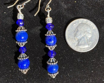2 inch Drop Grade A Lapis and Sterling Silver Earring