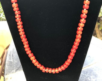 24 inch Red Coral and Silver Necklace