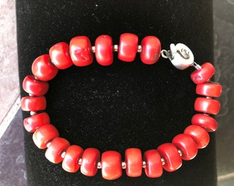 8.25 inch Red Coral and Sterling Silver Bracelet