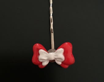 Hair bow red and white polymer clay