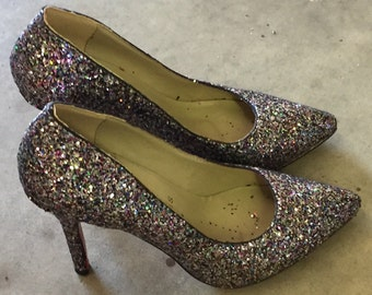 35f4576fc32 Christian Loubotin vintage ladies high heel GLITTER RED sole shoes size  36euro 5-1 2 us good condition c1990s(FREE shipping)