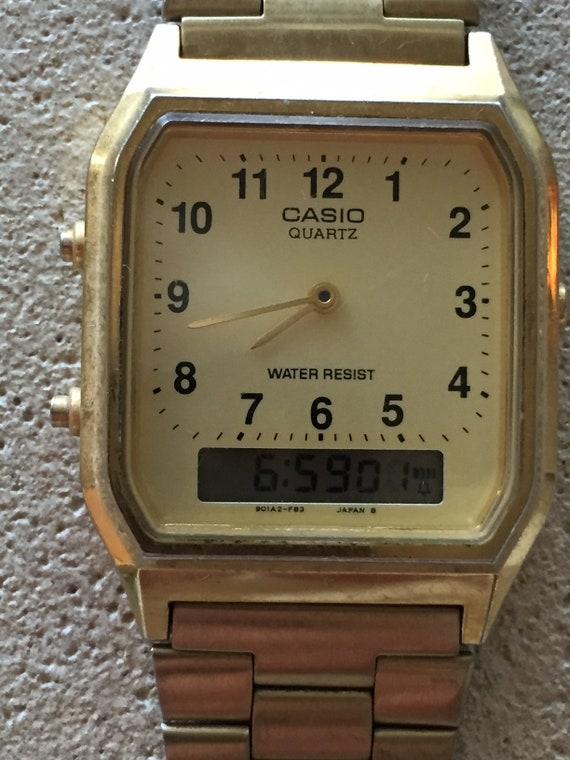 4cbe79c789a Vintage Casio mens analog lcd japan qtz watch goldtone 32mm