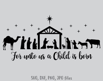 photo regarding Free Printable Silhouette of Nativity Scene named Nativity scene svg Etsy
