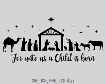 image regarding Free Printable Silhouette of Nativity Scene called Nativity scene svg Etsy