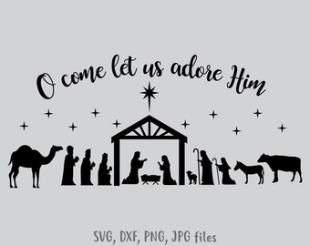 photo relating to Free Printable Silhouette of Nativity Scene named Nativity silhouette Etsy