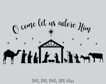 image regarding Nativity Scene Silhouette Printable called Nativity silhouette Etsy
