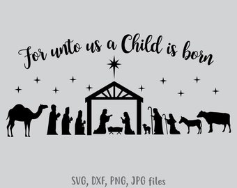 graphic regarding Nativity Silhouette Printable known as Nativity silhouette Etsy