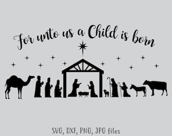 graphic regarding Nativity Silhouette Printable known as Nativity silhouette Etsy