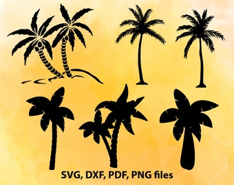 Palm tree svg, Palm tree clip art, Tropical, Palm tree set, Svg files for Silhouette Cameo, Cut files for Cricut, png pdf eps svg dxf