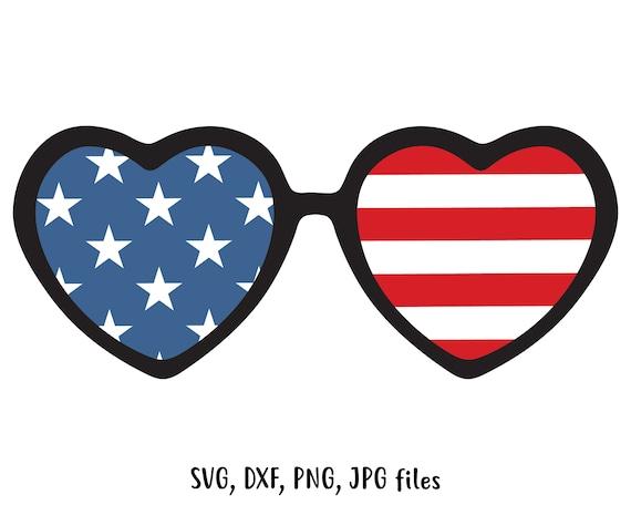 d106d8d0dad Heart USA sunglasses SVG Independence day svg Patriotic Cut