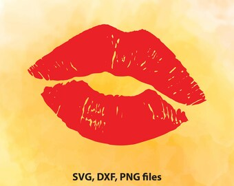 Kiss Svg, Valentines day svg, Valentine svg, Files for Cricut, Distressed Svg, Files for Silhouette Cameo, Lips Svg, Grunge Svg, Dxf, Png