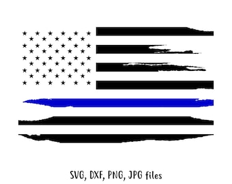 Thin Blue Line American Flag SVG File, Grunge style america flag cut File, Police support flag clip art, Police flag Cricut, Flag Silhouette