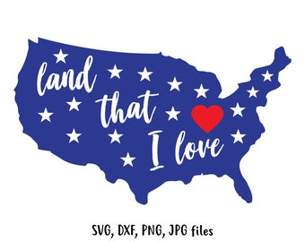 American flag svg, Memorial day svg, July 4th svg, 4th of july svg, Patriotic svg, USA svg, Silhouette, Cricut, Cut file, Land That I love