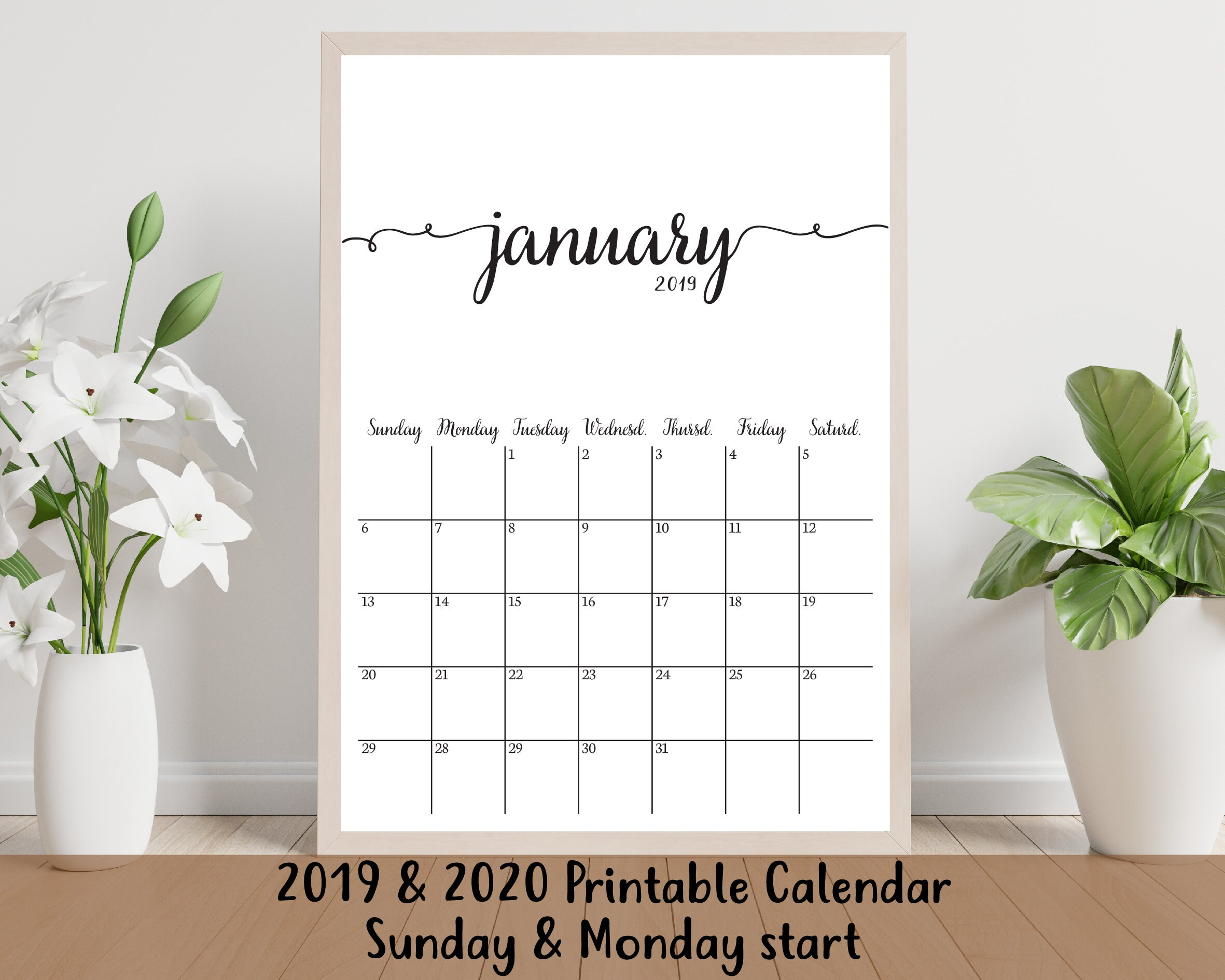 December 2020 December Calendar Svg 2019 Calendar Printable 2019 & 2020 Calendar Template   Etsy