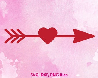 Arrow SVG, Arrow Heart SVG, Arrow Cutting File, Arrow Clipart, SVG Files, Cricut Cut Files, Silhouette Cut Files