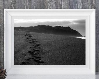 Footprints - Point Reyes National Seashore, California - Black & White Fine Art Photo Print