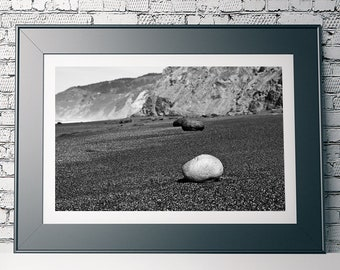 Lonely Stones - Alamere Falls Beach - Point Reyes National Seashore - Black & White Fine Art Photo Print