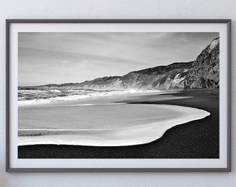 Alamere Falls Beach - Marin County, California - Black & White Fine Art Photo Print