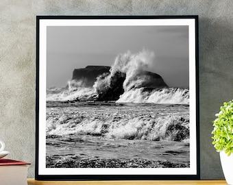 King Tide Waves - Goat Rock Beach - Jenner, California - Black & White Fine Art Photo Print