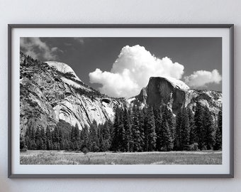 Half Dome - Yosemite National Park, California - Black & White Fine Art Photo Print