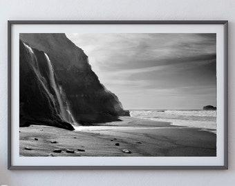 Alamere Falls Beach - Point Reyes National Seashore - Black & White Fine Art Photo Print