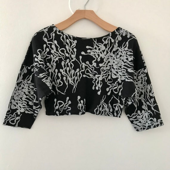 Vintage 80's 90's Sperm Allover Print Cropped Shir