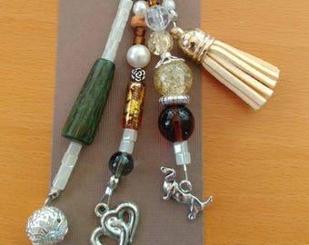 Gold tassel charm keychain