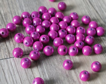 set of 3 pearls Magic 8mm fuchsia pink
