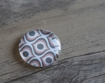 1 cabochon clear 25mm alveoli Brown and pink pattern
