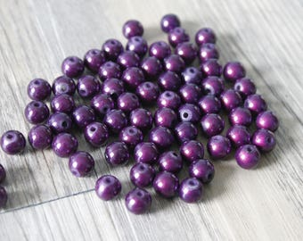 set of 9 pearls Magic 8mm color purple