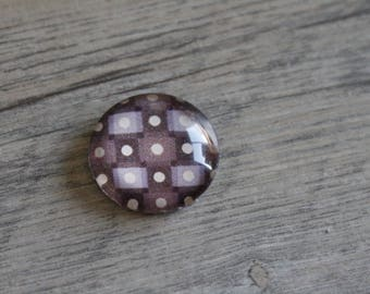 1 cabochon clear 20mm Brown and beige graphic pattern
