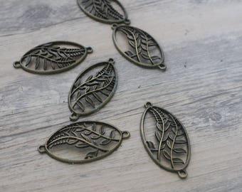 1 connector brass fern leaf pendant bronze 4, 8 * 2, 5cm