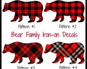 f8ede8fe86 Bear Family Iron-On Decals Black   Red Plaid Bear Iron-On Decals