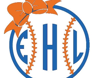 Softball/Baseball Monogrammed 3/4 Raglan T-Shirt