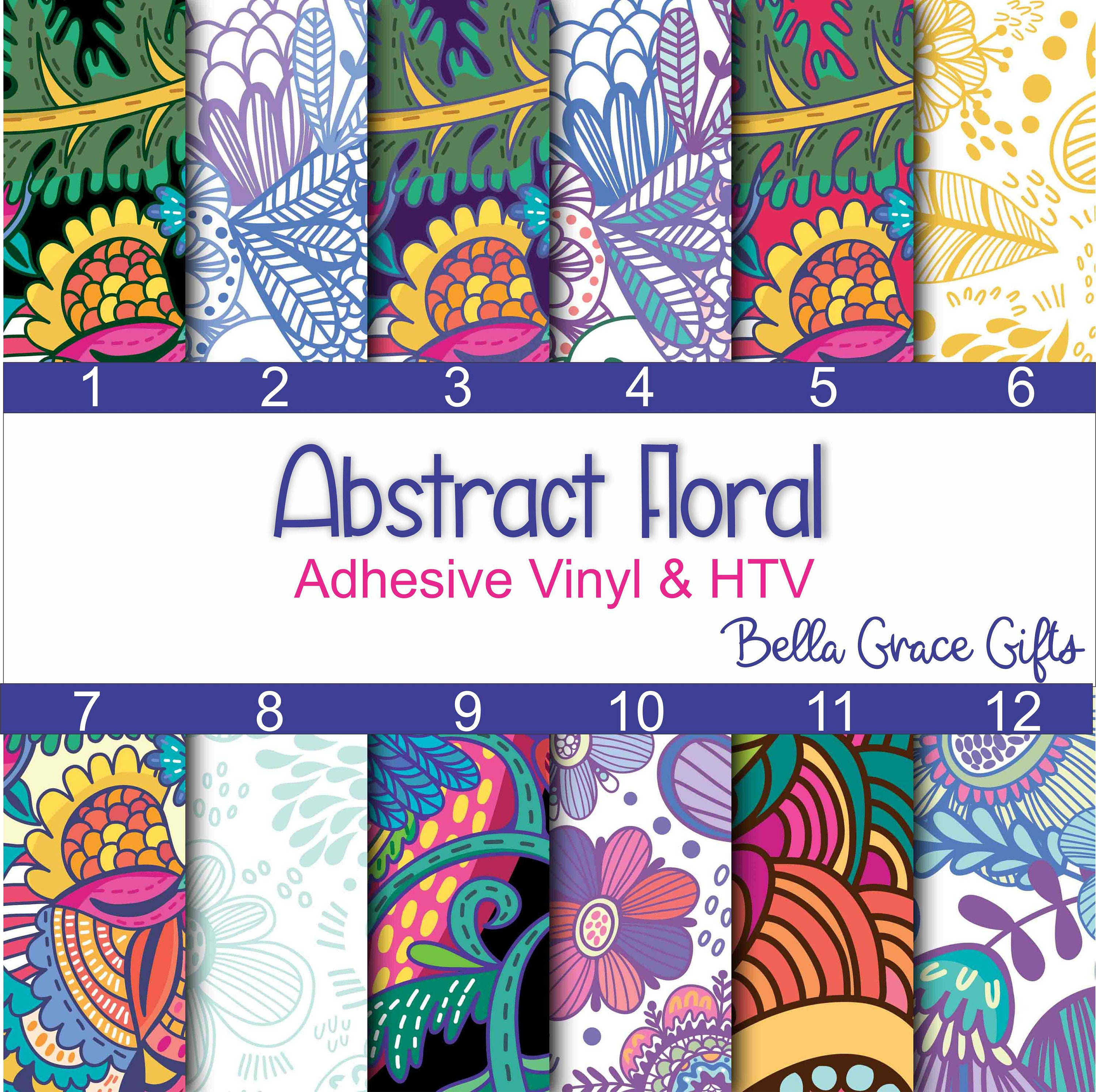 abstract floral patterned adhesive vinyl htv