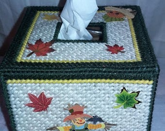 Kleenex Box Cover - Dark Green Scarecrow with Pumpkins (Kleenex Included)
