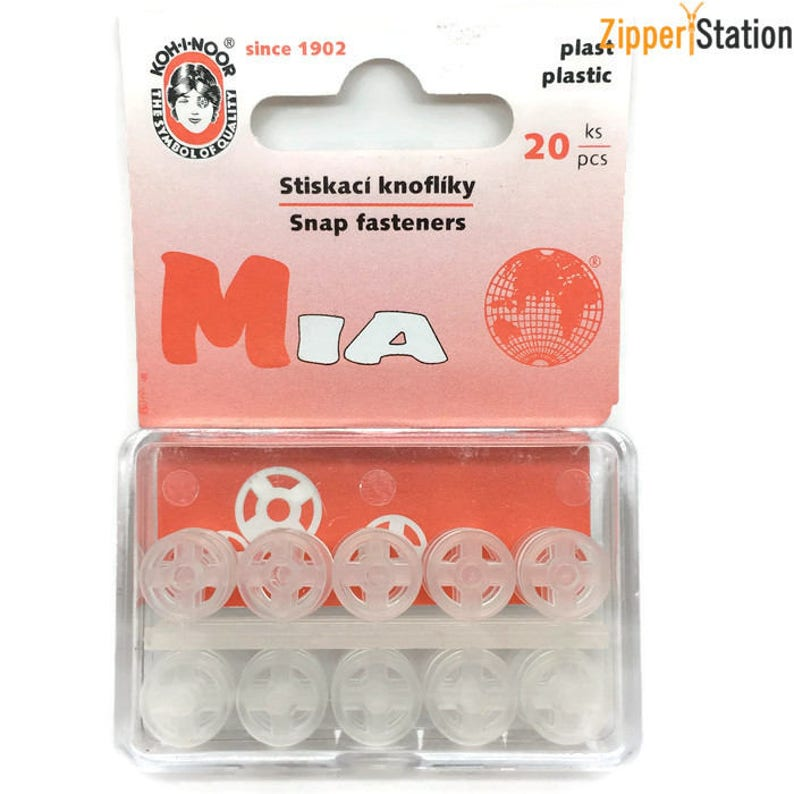 Snap Fasteners Press Studs 10mm and 13mm Poppers Clear Plastic