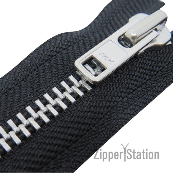 76 to 16cms Open End Zipper Silver Metal teeth YKK Black heavy Duty Zip