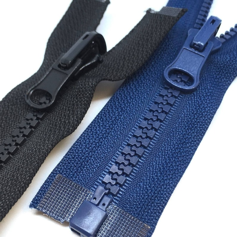 REVERSIBLE Chunky Plastic Open End Zipper Black and Navy No5 Reversable Zip
