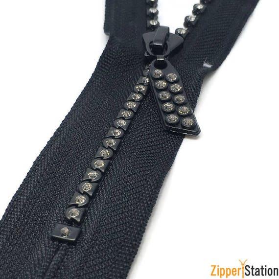"4/"" Swarovski  Rhinestone Zipper ~ Closed Bottom ~ Black"