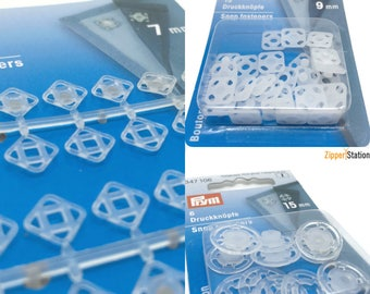 Snap Fasteners, Poppers, Press Studs. Clear Plastic, 10mm and 13mm