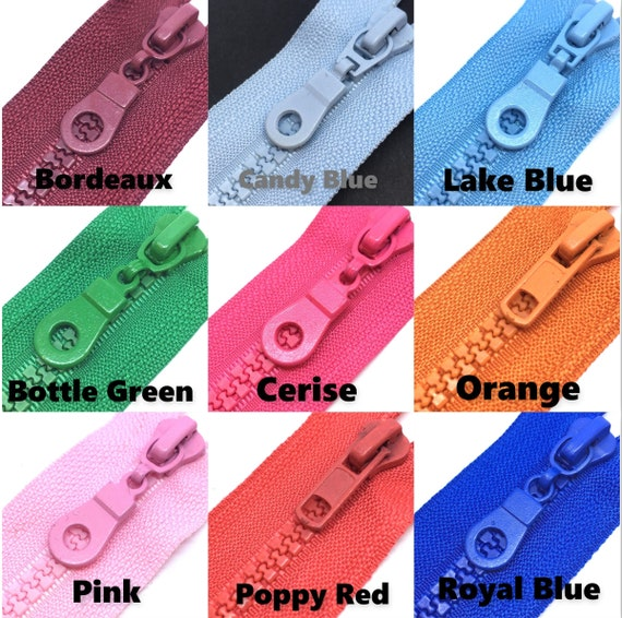 PLASTIC TEETH CHUNKY OPEN ENDED ZIP CHOICE OF LENGTH /& COLOUR